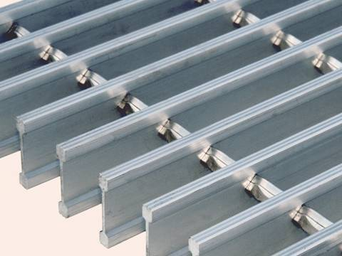 A aluminum steel grating sheet on the white background.