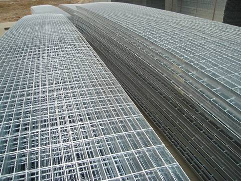 Galvanized bar grating panel sheets on our factory.