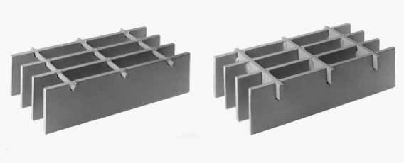 welded steel grating: standard cross bar, optional rectangular cross bar