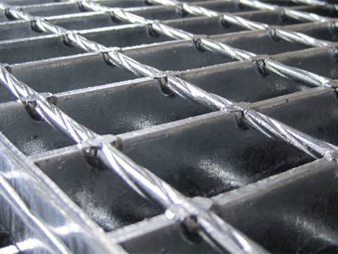 Heavy duty galvanized welded bar grating panels.